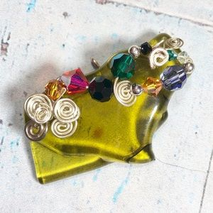 Abstract Recycled Glass Pendent With Beads
